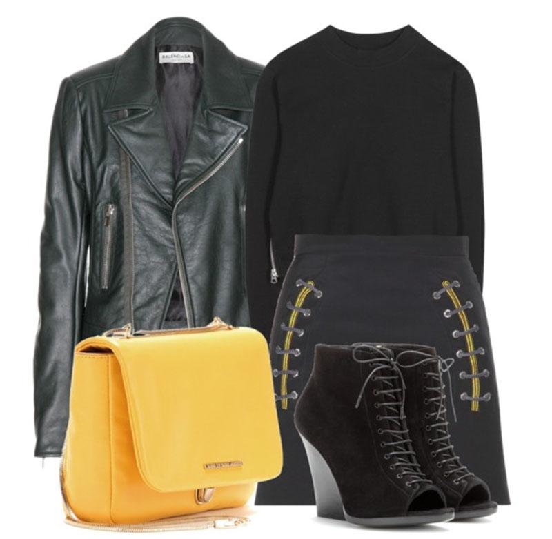 Balenciaga Mini Skirt with black Acne Studios Bird Cropped Cotton-Blend Sweatshirt and black Balenciaga leather biker jacket