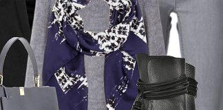Balenciaga navy white printed scarf