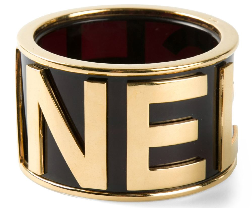 Black and gold extra large logo bangle from Chanel Vintage