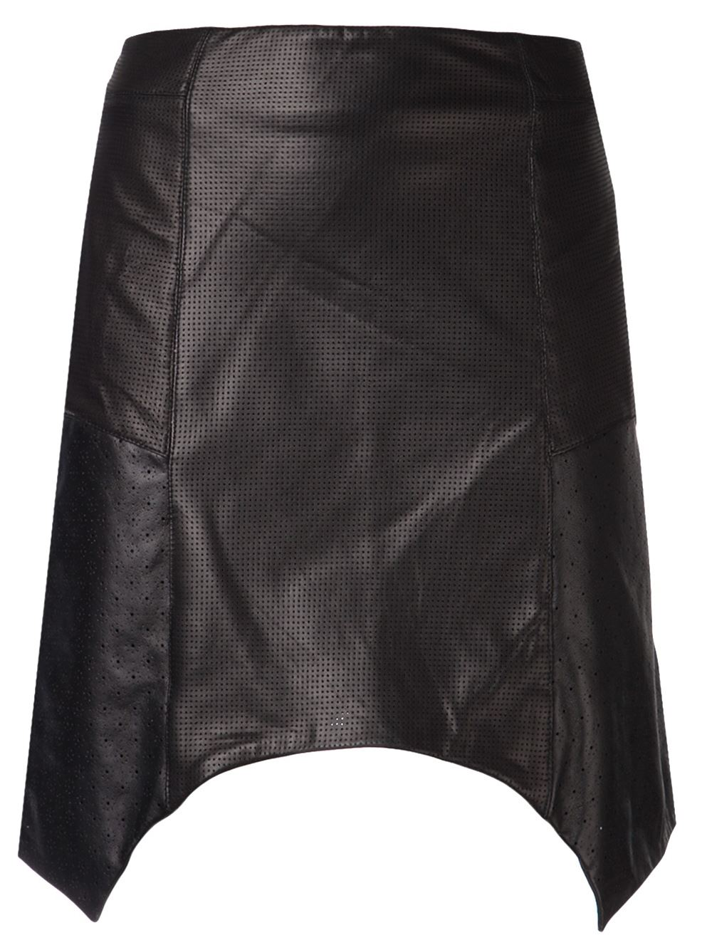 Black lambskin asymmetrical skirt from Tess Giberson