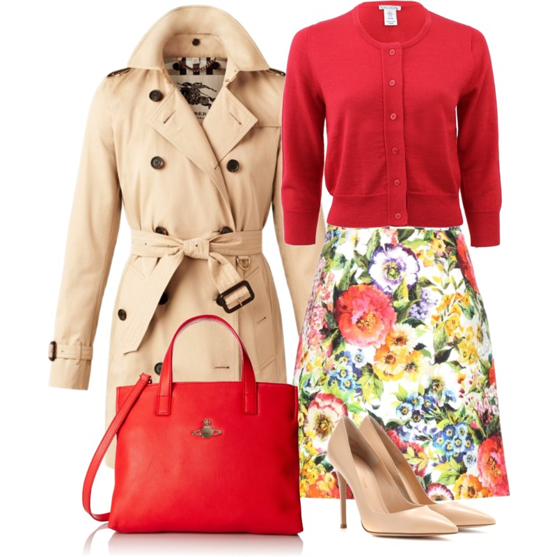 Dolce Gabbana Cotton And Silk-blend Floral-print Skirt with OSCAR DE LA RENTA Classic Cropped Cardigan Burberry The Kensington – Mid-Length Heritage Trench Coat