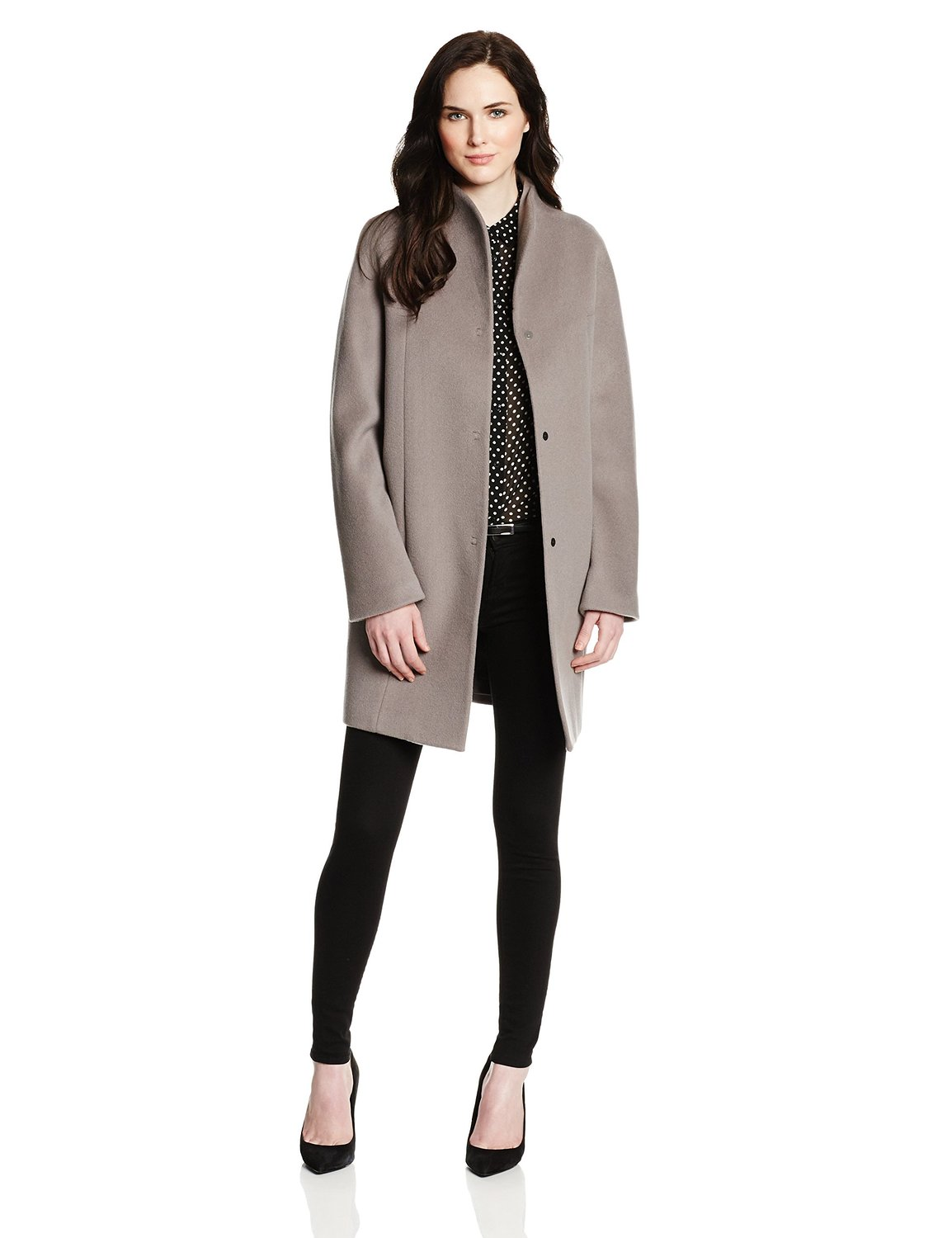 Elie Tahari Womens Dalia Double Face Wool-Blend Cocoon Coat