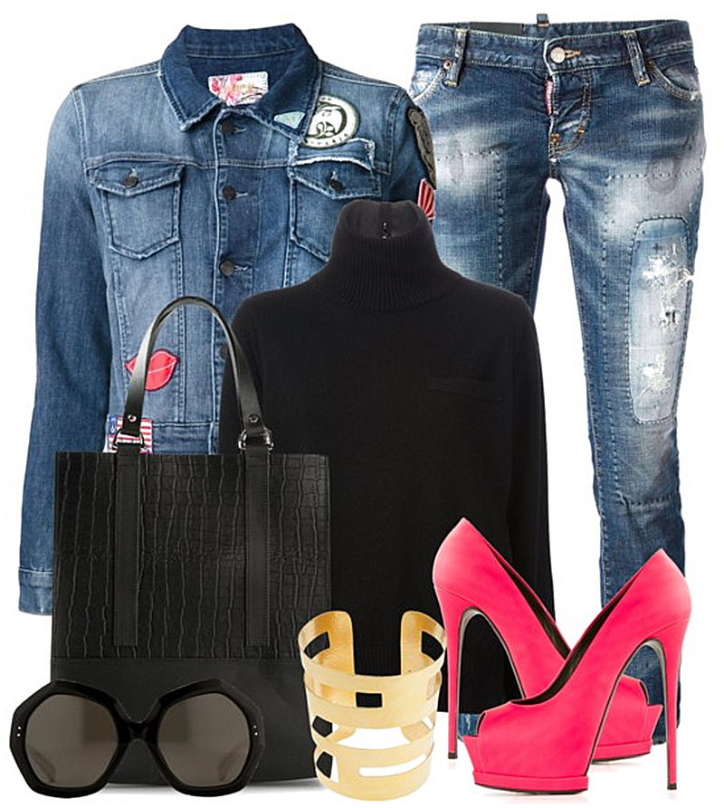 Gianmarco Lorenzi Classic Platform Pumps with black turtleneck sweater dsquared2 bleached ripped jeans and SIWY Gia denim jacket