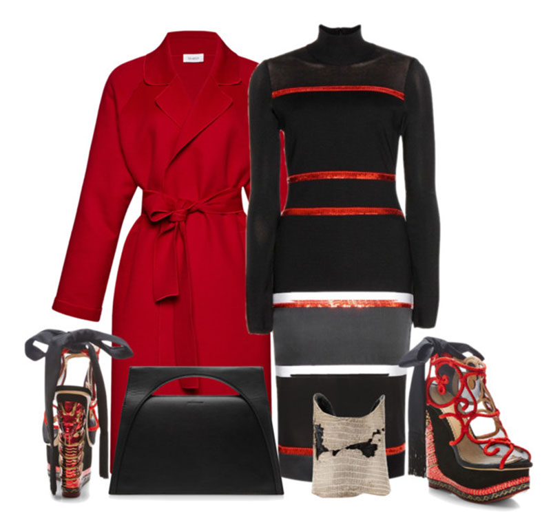 Givenchy black red white sequin stretch dress with Isa Arfen Belted Wool and Cashmere-Blend Coat Charlotte Olympia The Great Wedge Of China Embellished Platform Wedge