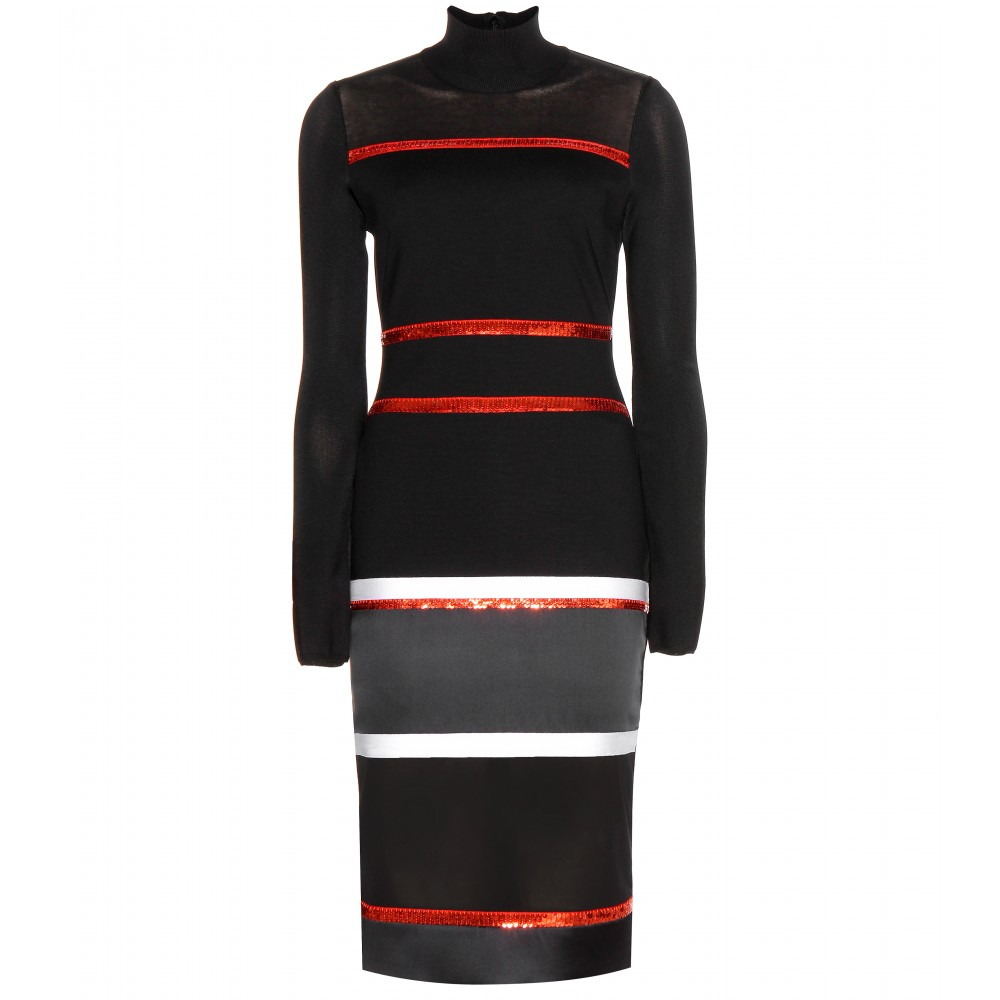 Givenchy black stripe sequin strech dress