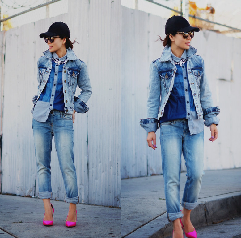 Hallie S who blogs via halliedaily gives her all denim ensemble a pop with a pair of bright pink pumps