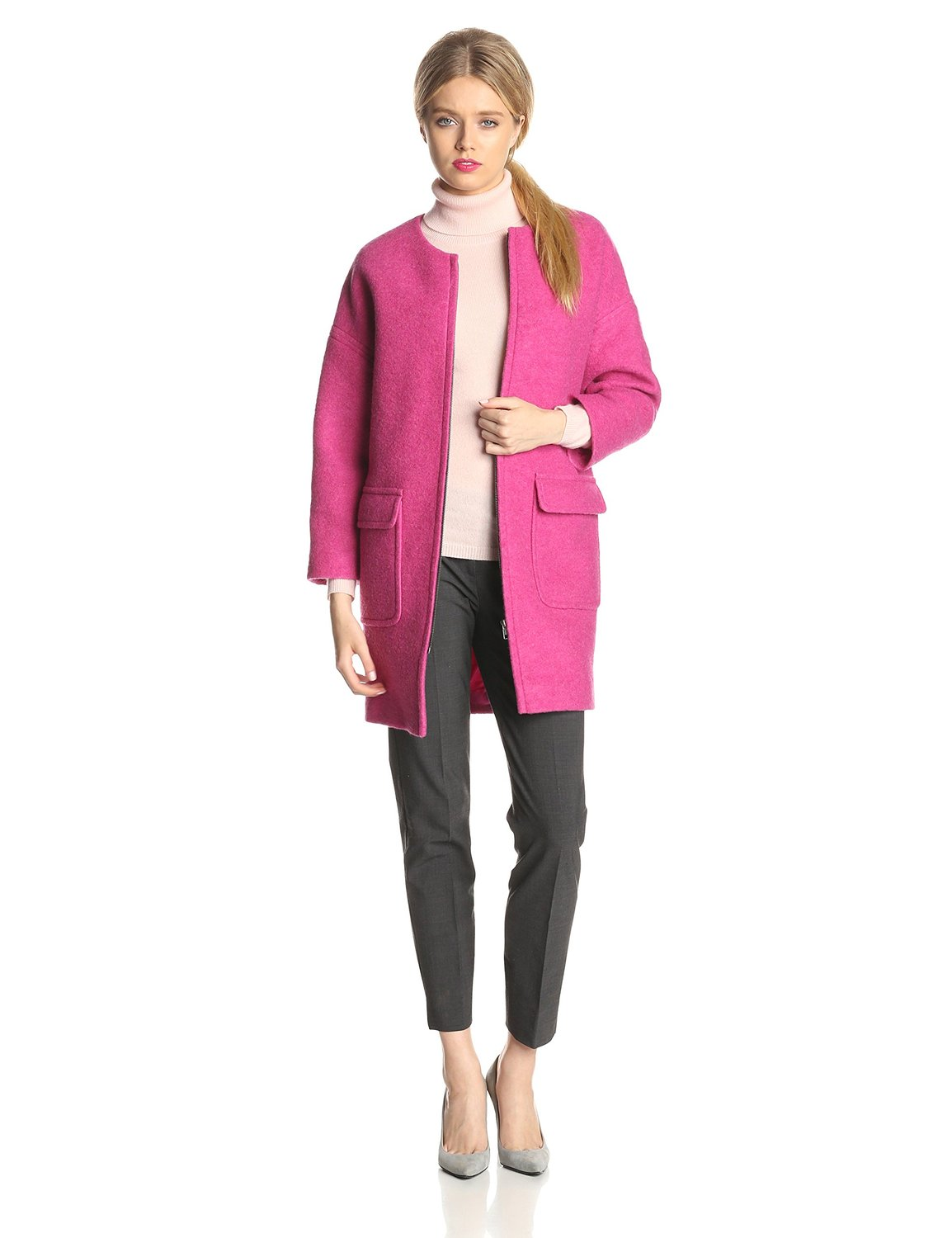 Helene Berman Womens Boiled Wool-Blend Cocoon Coat