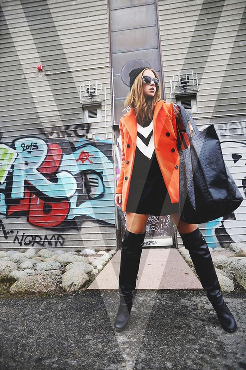 madelene billman freelance stylist blogger wears an orange jacket from choies - Freelance Stylist