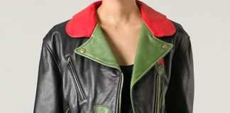 Moschino Vintage black red green leather flower biker jacket