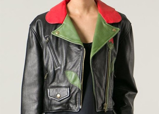 Moschino Vintage black red green leather flower biker jacket