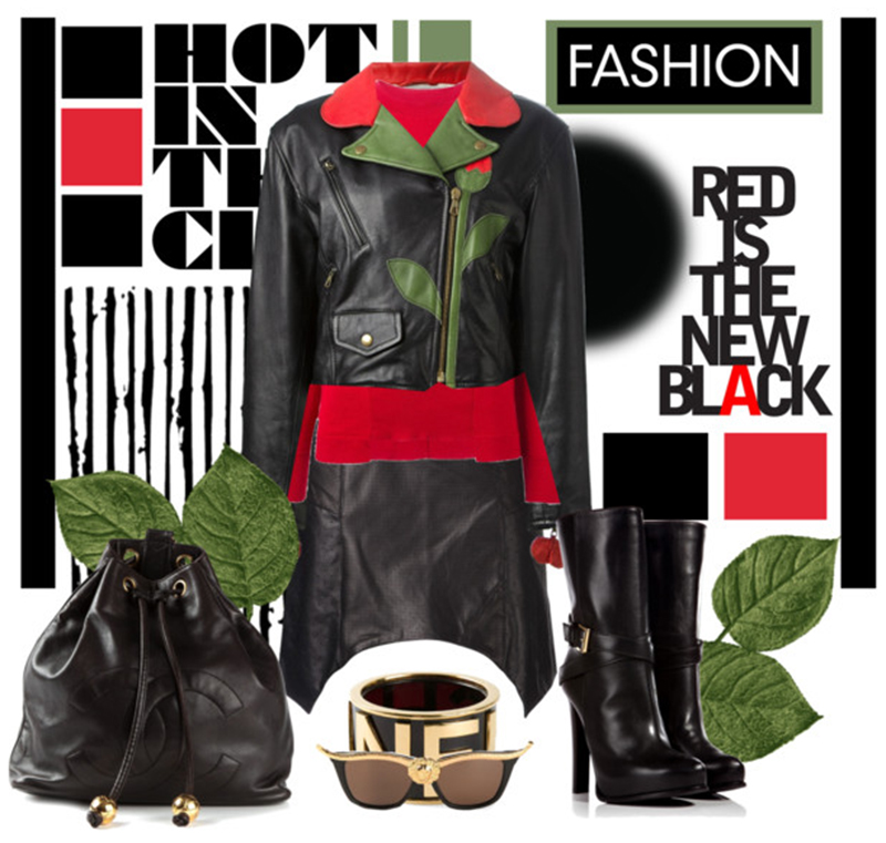 Moschino Vintage flower biker jacket red Marni sweater black leather skirt biker boots