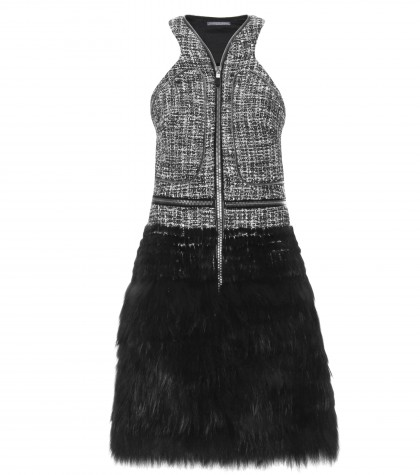 Alexander McQueen Fur And Boucle Knit Halter Dress