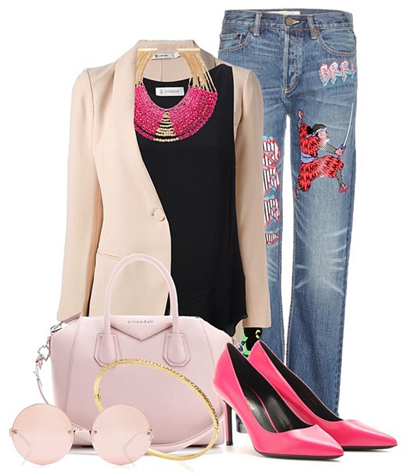 Pink Saint Laurent Paris pumps Marc by Marc Jacobs Annie boyfriend jeans black top beige blazer pink givenchy antigona bag