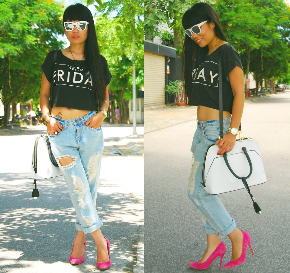 Thuy Bee from Vietnam wearing hot pink pumps boyfriend jeans cropped top