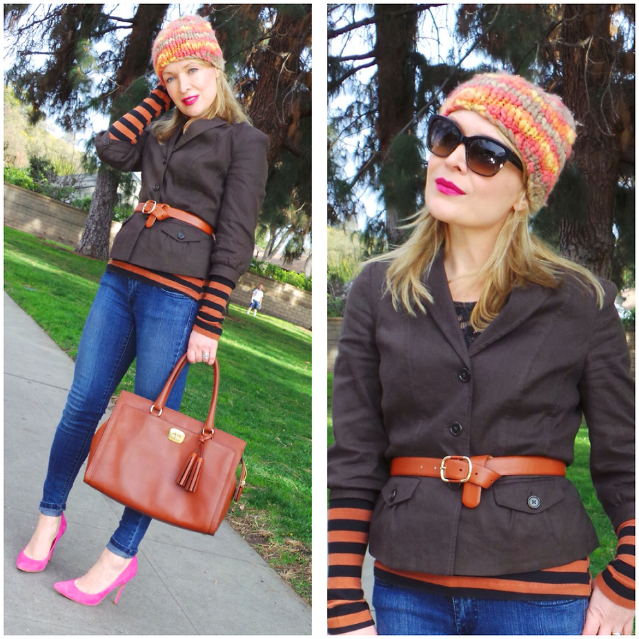Zia Dominic thehuntercollector Blogger Burbank CA United States wears pink pumps with an orange and black striped top