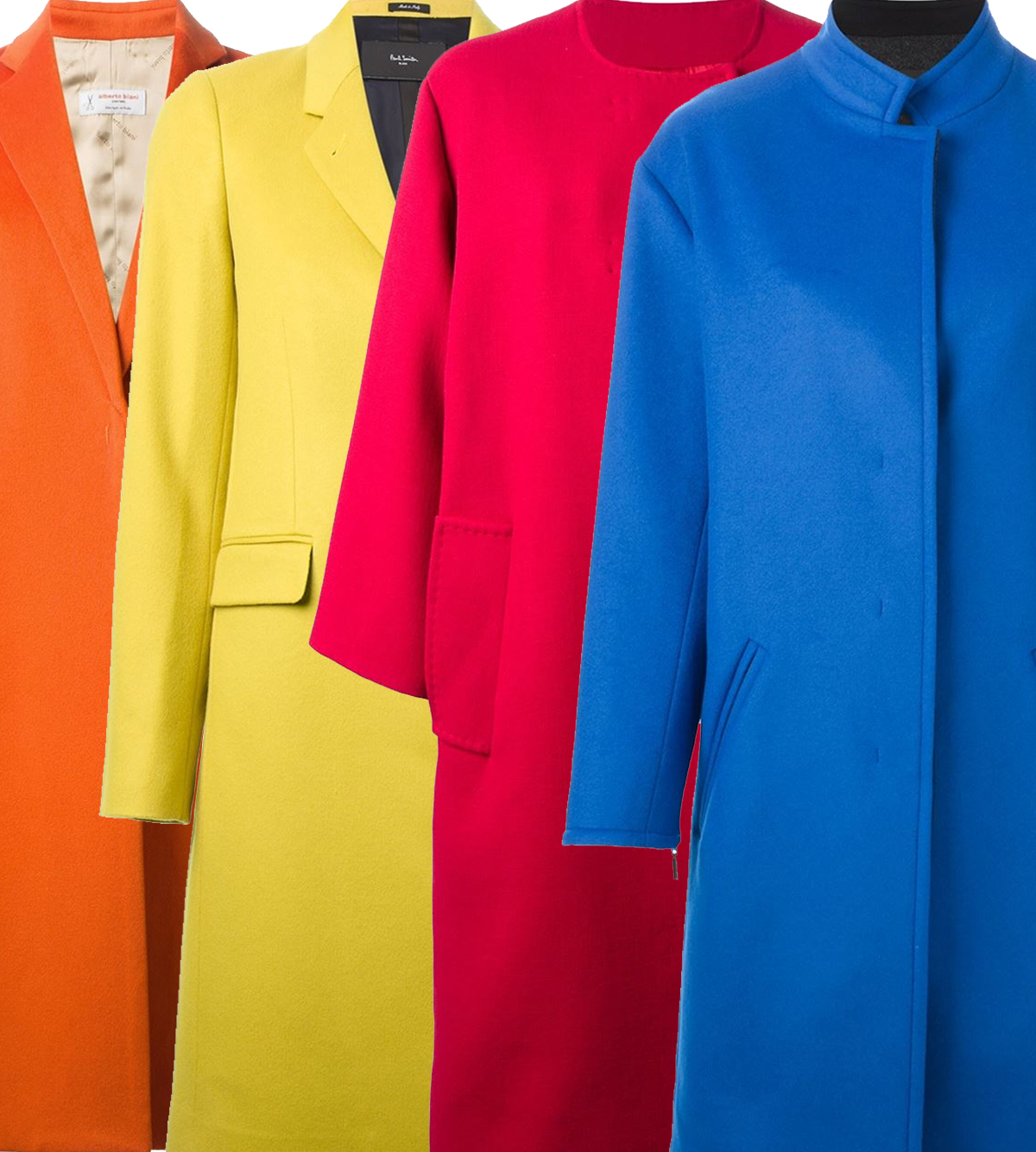 red blue yellow orange long winter coats