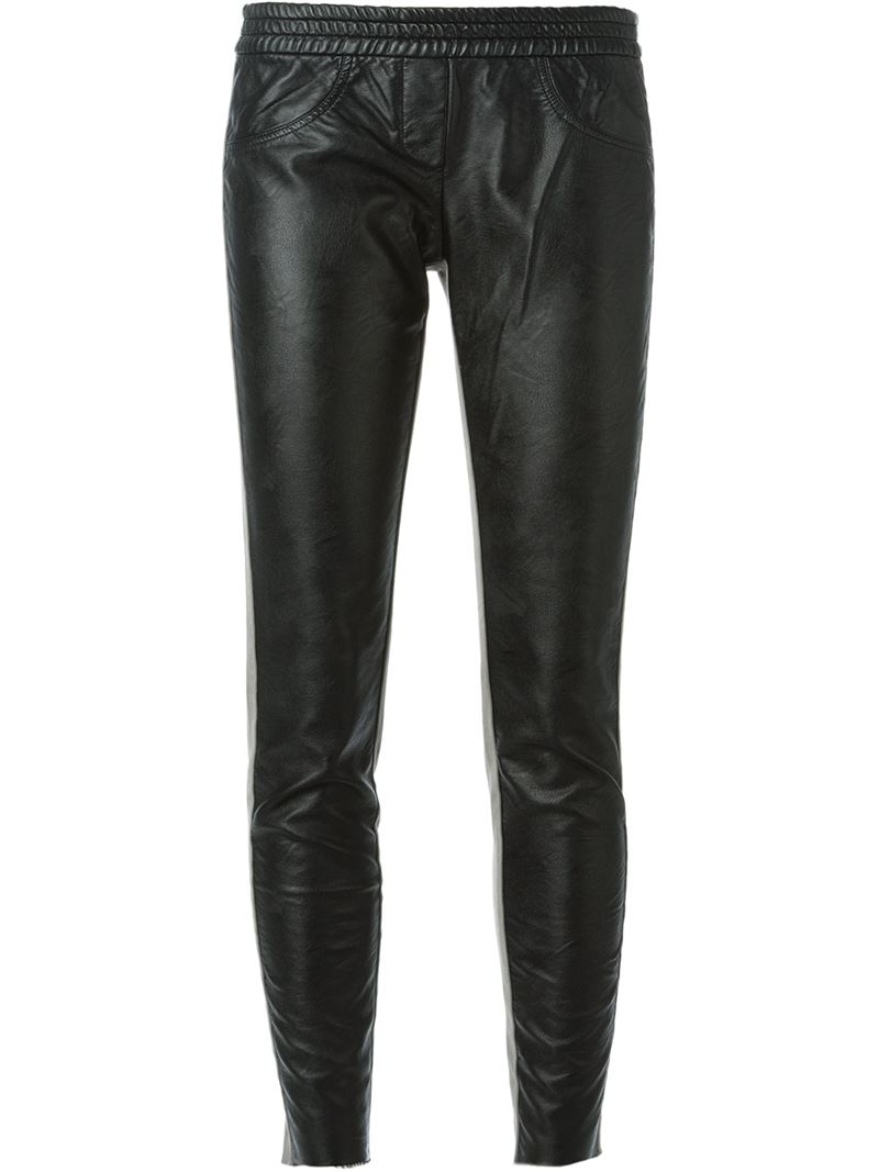 8PM contrasting panels elasticated waistband slim fit trousers