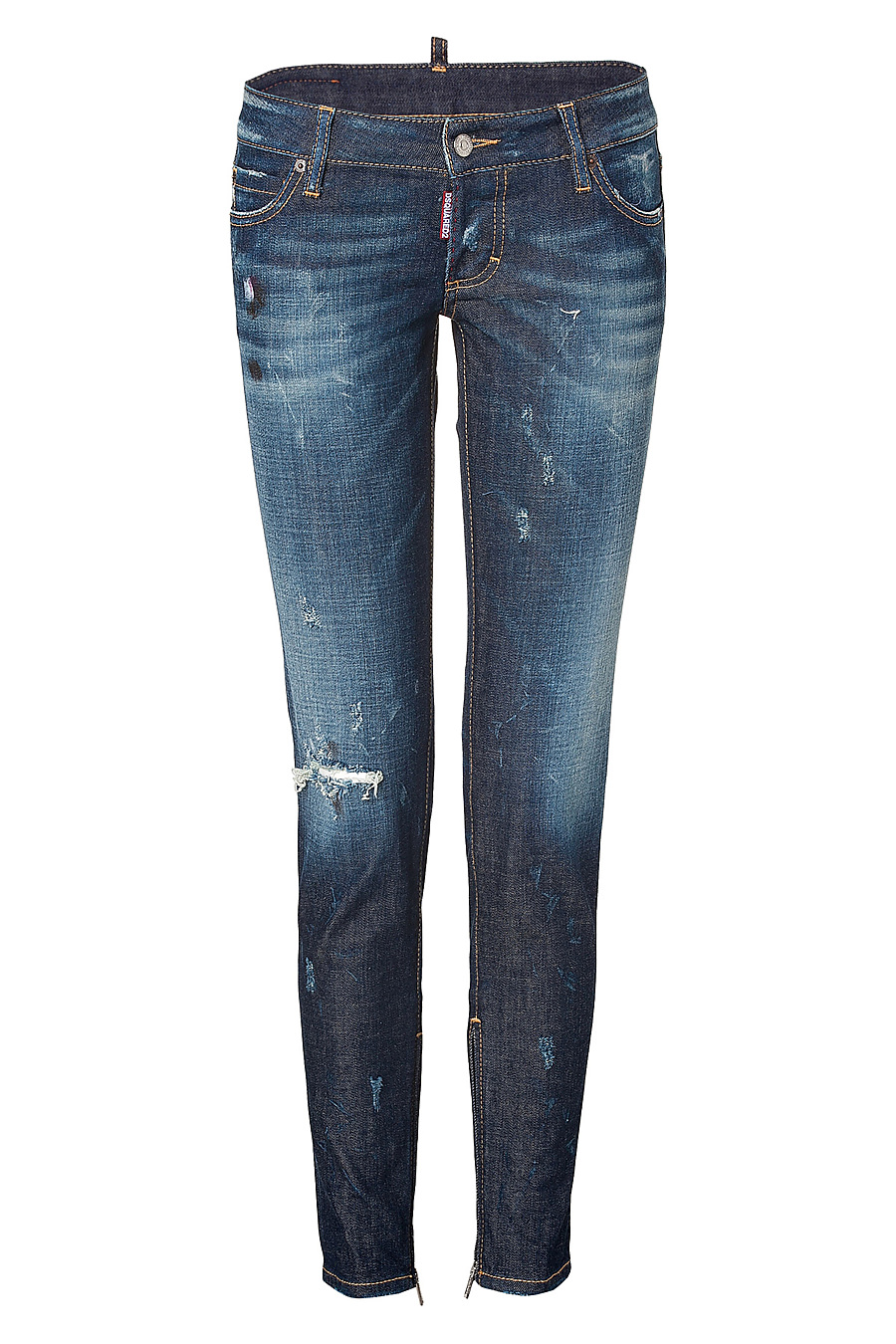 Dsquared2 Distressed Skinny Jeans with Zip Trim