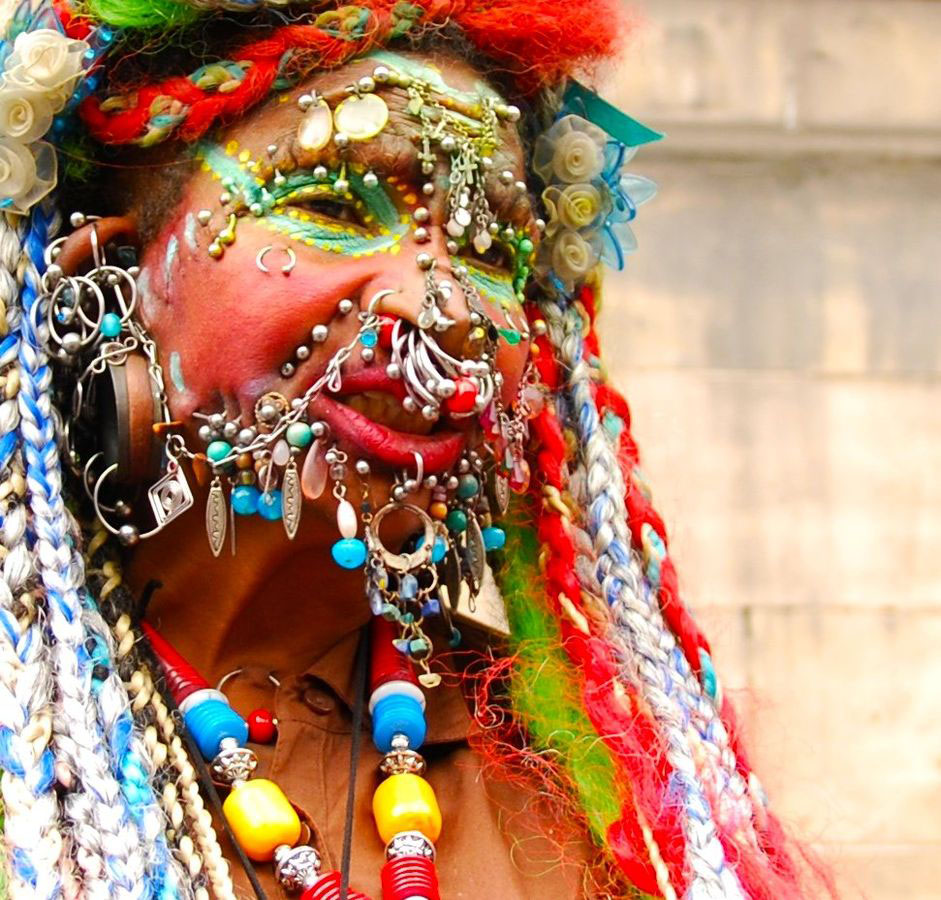 """Elaine Davidson, the """"Most Pierced Woman"""" in the world as of 2009"""