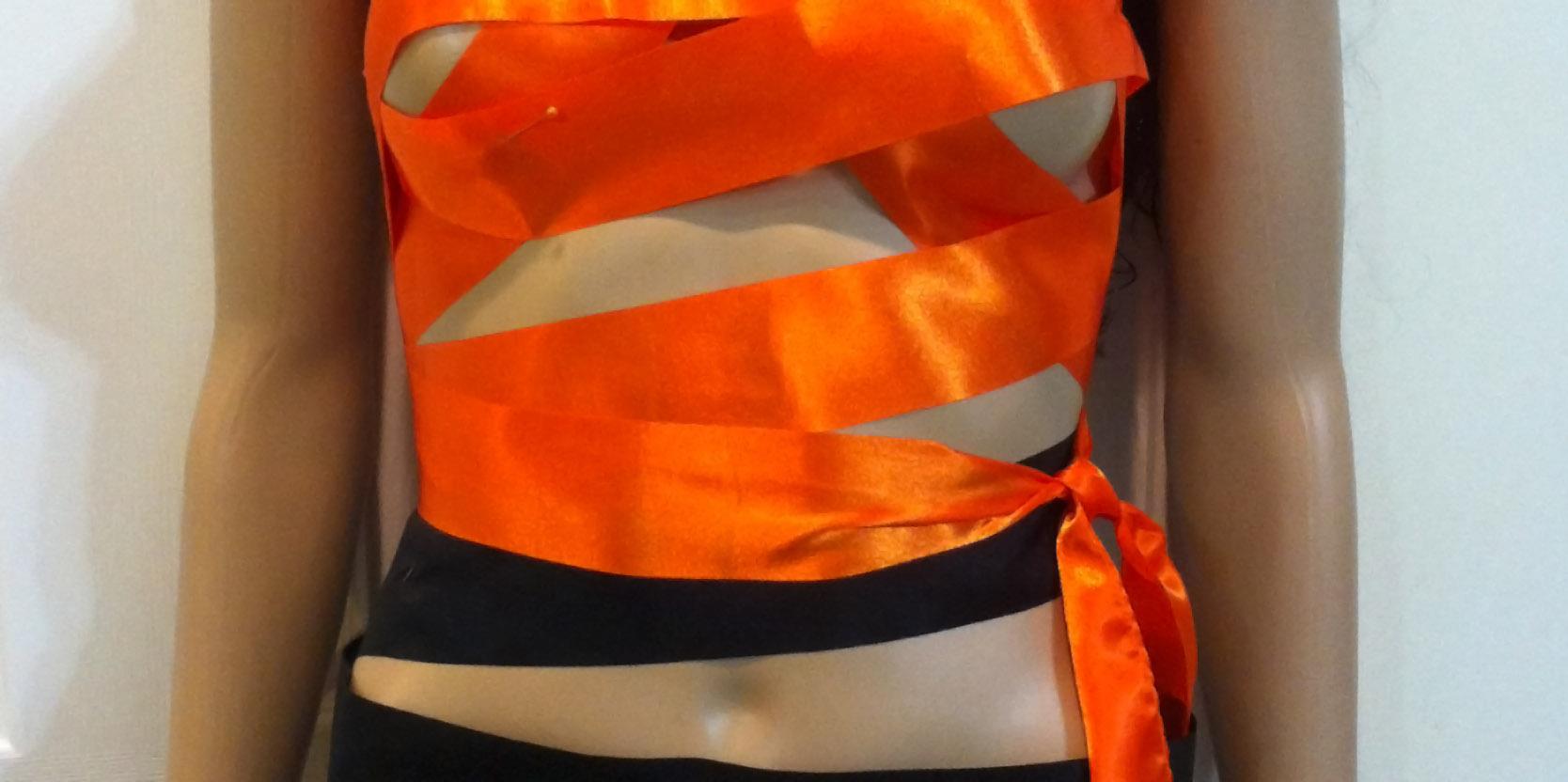 Orange black bandage dress made of rhythmic gymnastics ribbons fimg