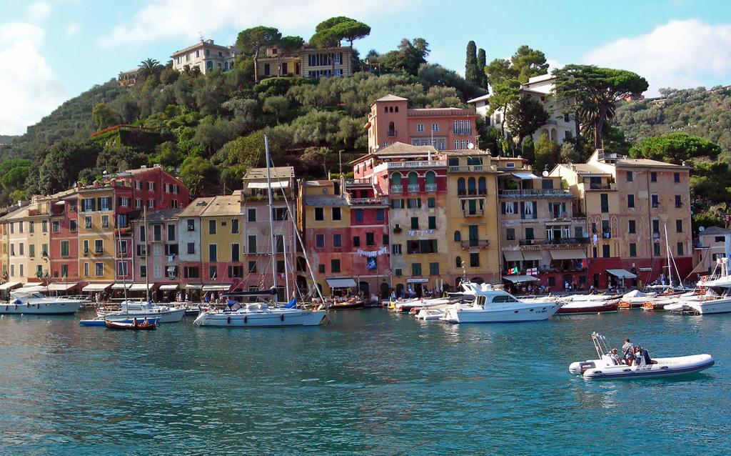Panoramic view over Portofino Italy