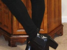 h&m black leather ankle boots on floor
