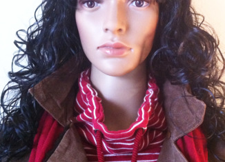 mannequin red white striped top brown leather jacket burgundy pashmina scarf