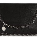 Black Falabella shaggy deer clutch Stella McCartney faux leather bag