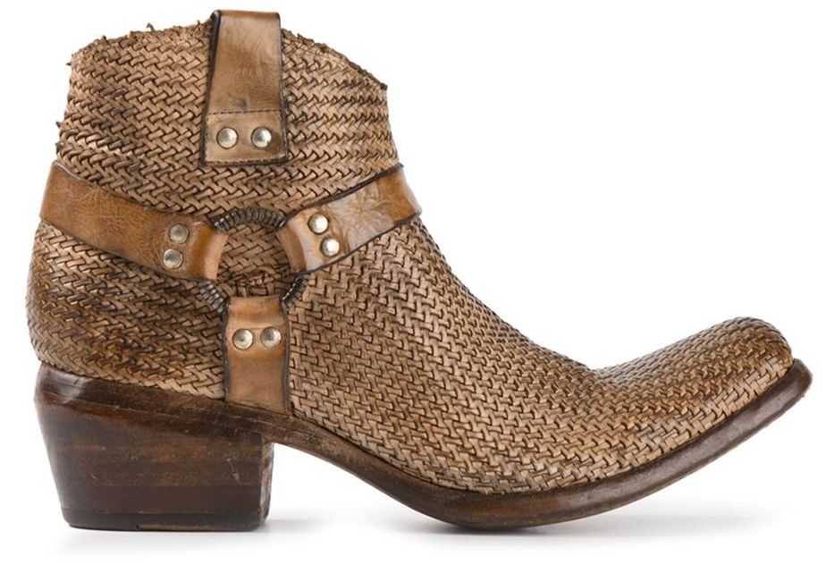 Chestnut brown leather woven cowboy boots from Damy