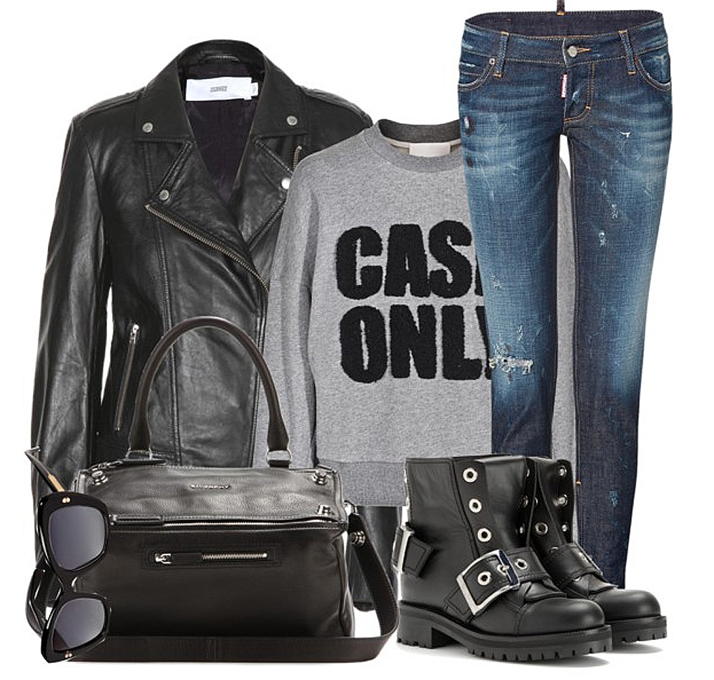 DSQUARED2 Distressed Skinny Jeans 3 1 Phillip Lim Cash Only Sweater Closed Leather Biker Jacket Givenchy Pandora Medium Leather Shoulder Bag DOLCE GABBANA Oversized Gradient Sunglasses