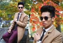 Dathias Hoang wearing topman topcaot yesstyle maroon suit dharma eyewear co sunglasses daniel wellington watch burberry tie white shirt