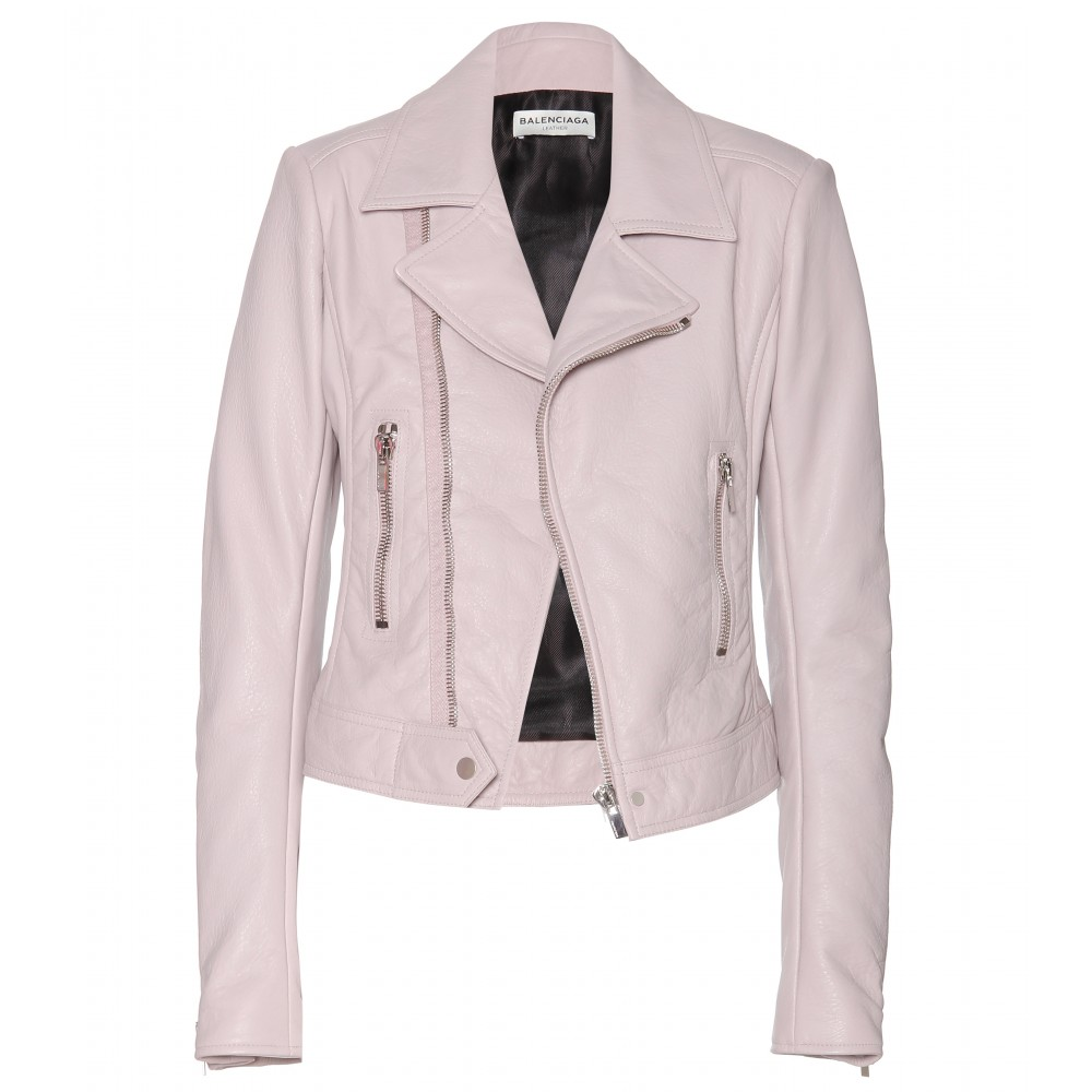 Balenciaga Leather Biker Jacket pale mauve pink