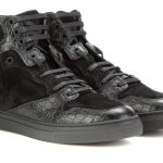 Balenciage leather and suede high top sneakers black