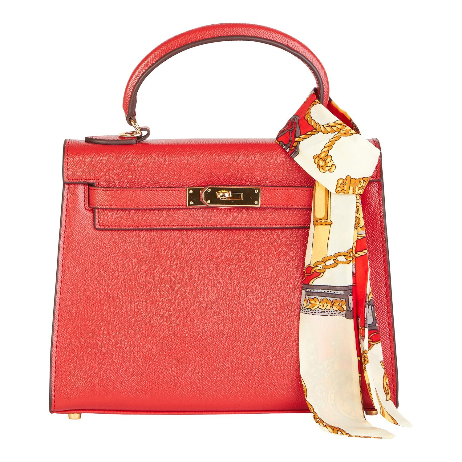 Beaute Bags Birk Padlock Frame Handbag Textured Red 100 percent Genuine Leather with Scarf