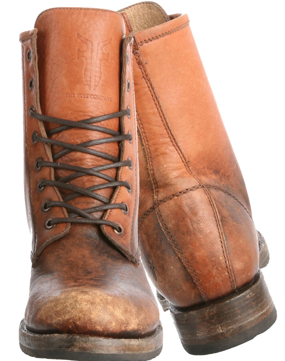 FRYE Womens Veronica Combat Boot cognac stone washed