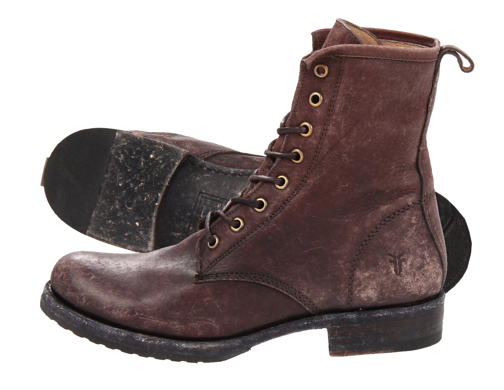 FRYE Womens Veronica Combat Boot dark brown stone washed
