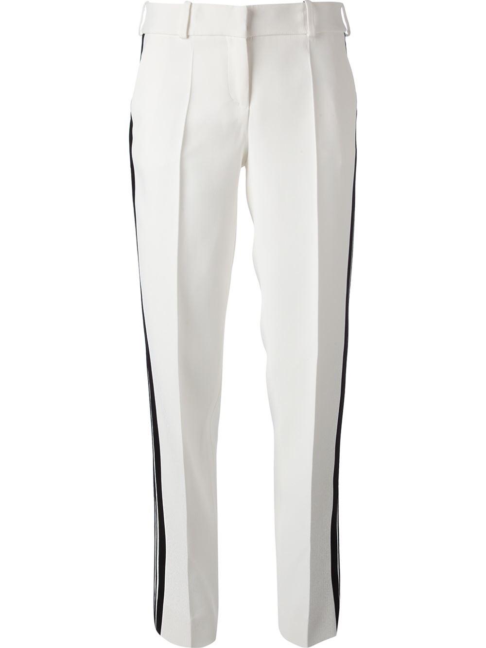 GIORGIO ARMANI white wide leg trousers black side stripe