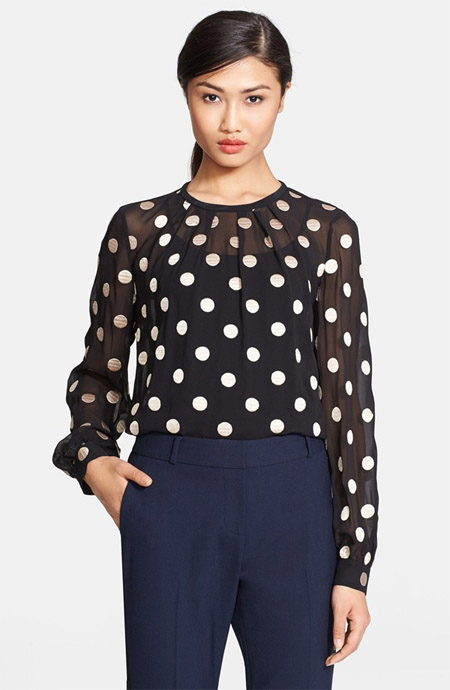 Kate Spade new York dot embroidered silk top