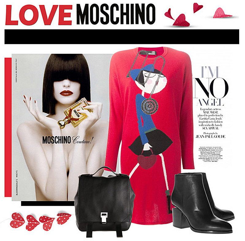 LOVE MOSCHINO red printed knit dress