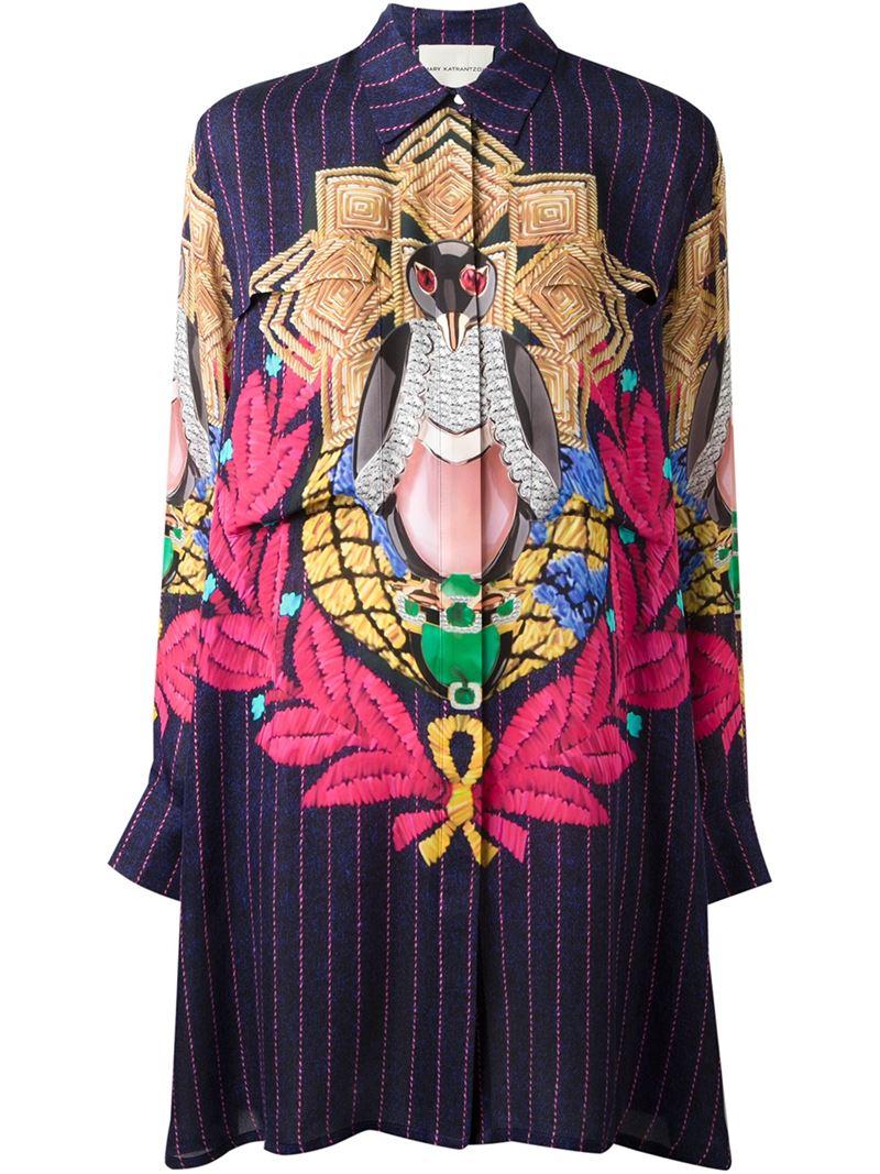 MARY KATRANTZOU Pigeon Badge Oriane blouse dress