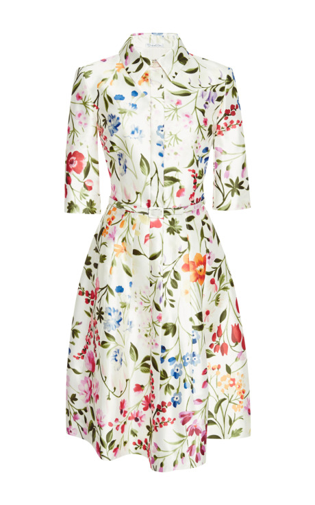 Oscar de la Renta Floral-Print Cotton and Silk-Blend Dress White