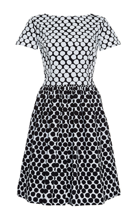 Oscar de la Renta Printed Cotton-Blend Dress Black White