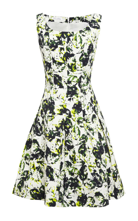 Oscar de la Renta Sleeveless Full Pleated Dress Forest