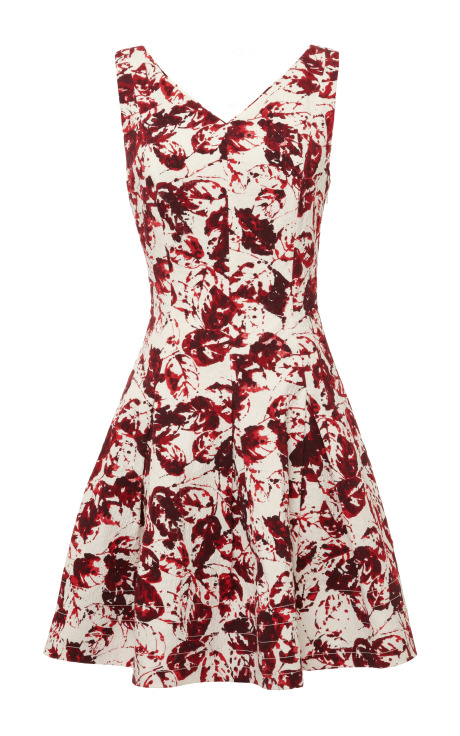 Oscar de la Renta Sleeveless V-Neck Cross-Back Dress Crimson