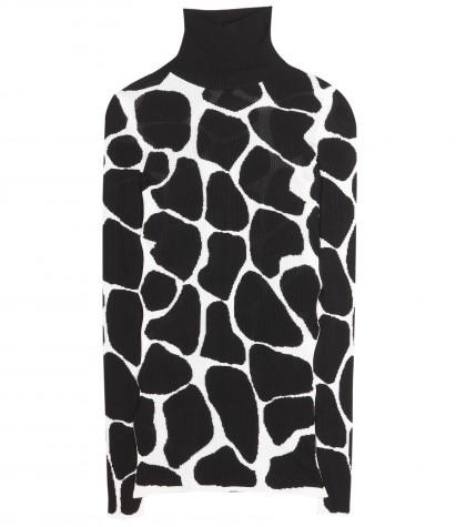 Burberry Prorsum Animal Print Silk Turtleneck Sweater