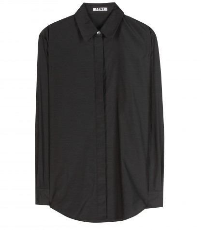 Acne Studios Patti Cotton And Silk-blend black long sleeved shirt