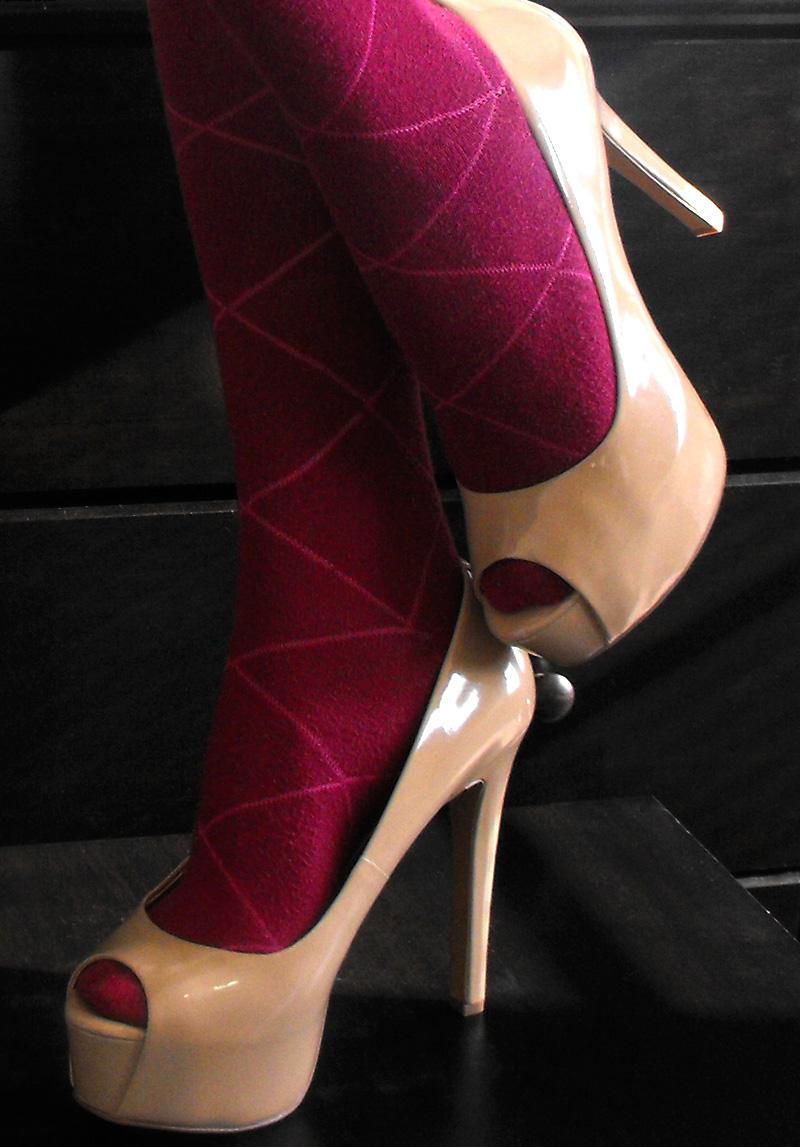 Carri patent peep toe nude Jessica Simpson pumps with knee high socks 2