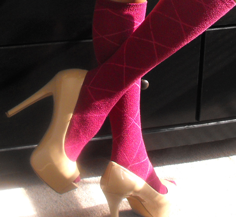 Carri patent peep toe nude Jessica Simpson pumps with knee high socks