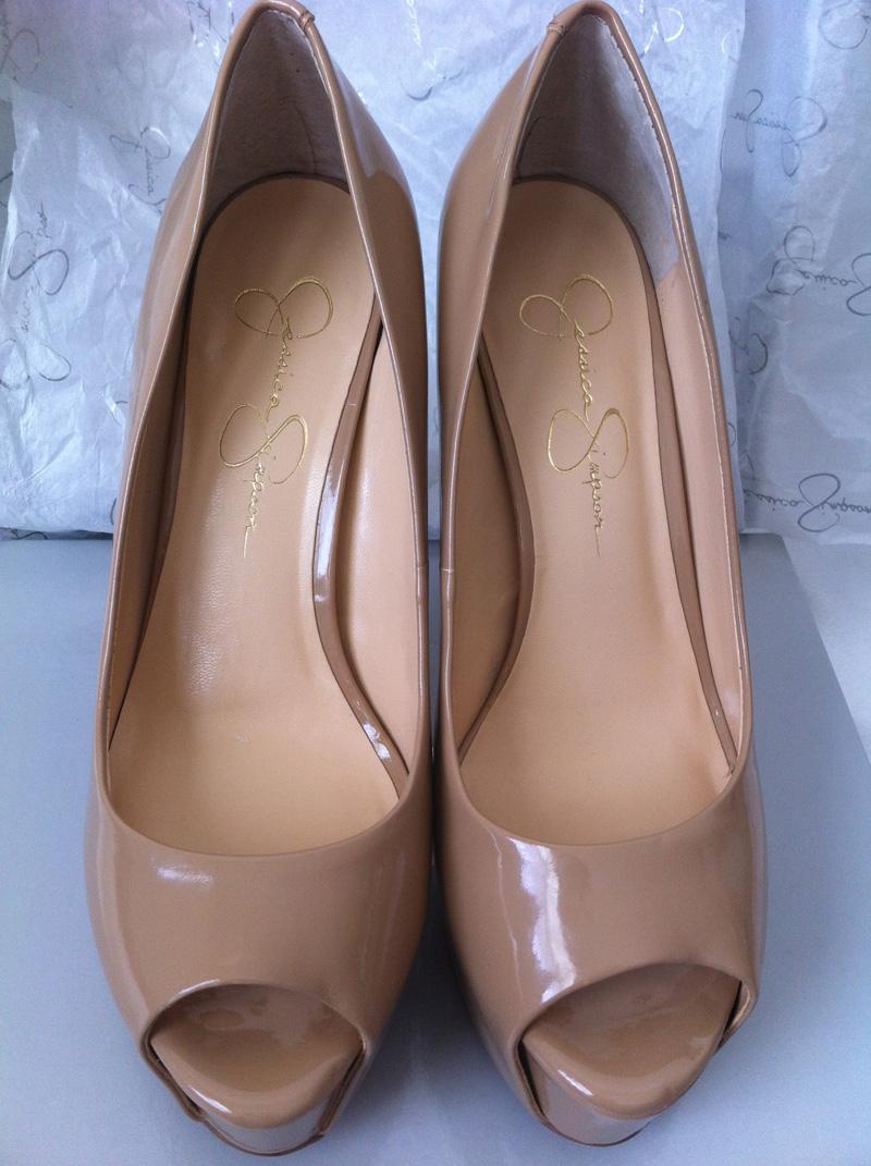 Jessica Simpson Carri Nude Patent peep toe pumps 1
