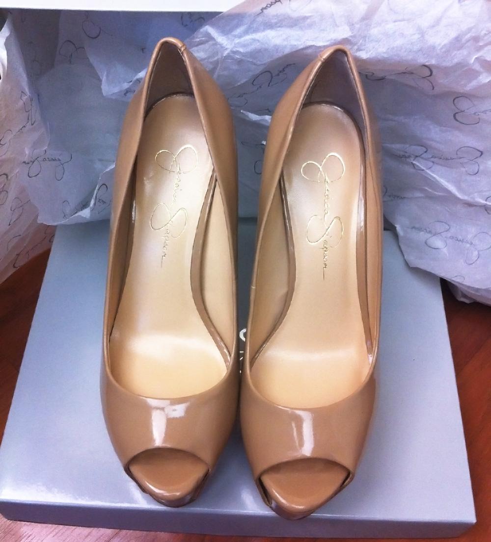 3162af1164 Jessica Simpson Carri Nude Patent peep toe pumps 2 - My Fashion Wants